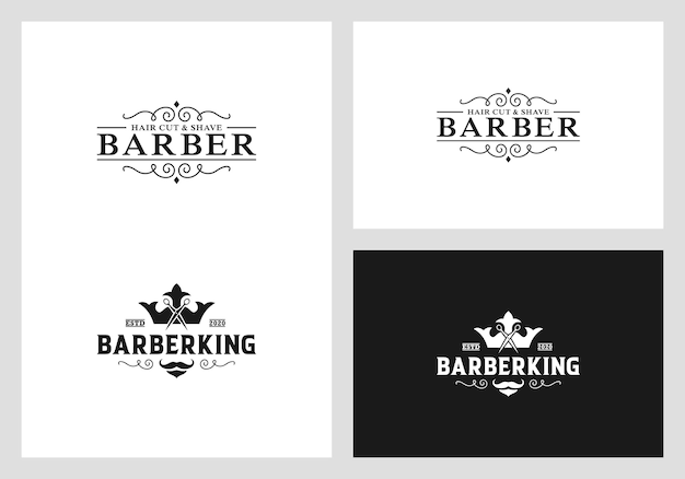 Barber logo design vector