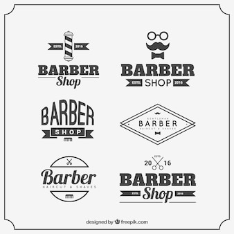Barber logo templates with vintage typography