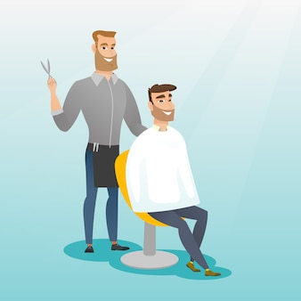 Barber making haircut to young man.