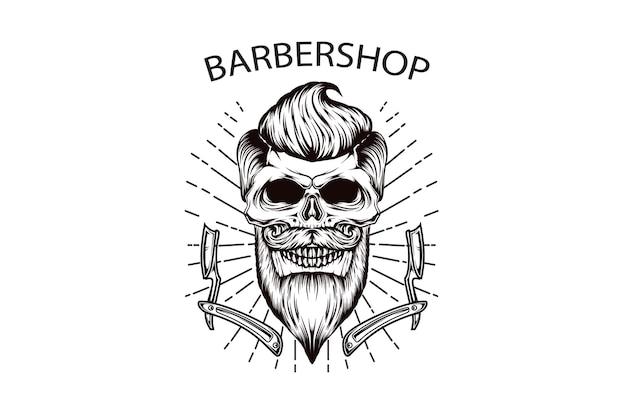 理髪師の頭蓋骨手描きイラスト