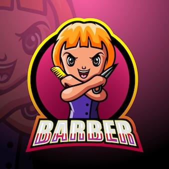 Barber mascot esport illustration