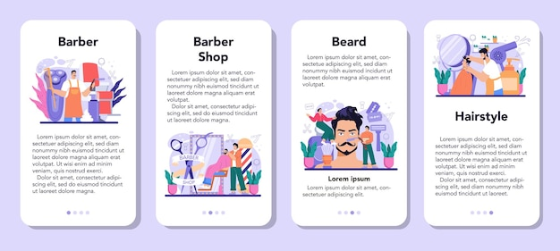 Barber mobile application banner set. idea of hair and beard care. hair cutting process and hair dressing in salon. men' hair treatment and styling. isolated flat illustration