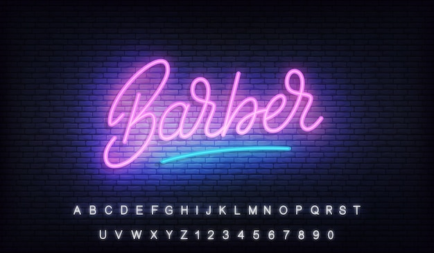 Barber neon, glowing lettering sign for barber shop