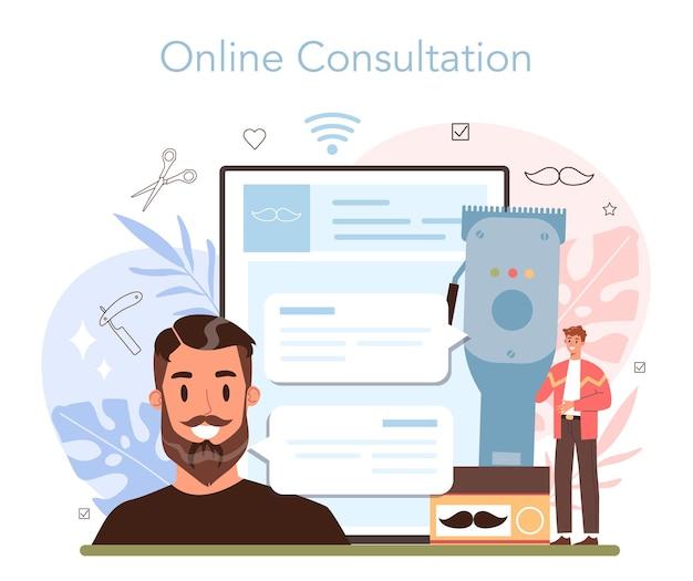 Онлайн-сервис или платформа парикмахера. идея ухода за волосами и бородой. уход за мужскими волосами и укладка. онлайн-консультация. изолированная плоская иллюстрация