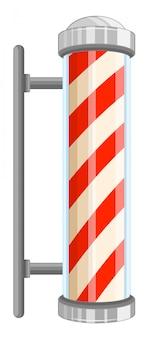 Barber pole sign on white background