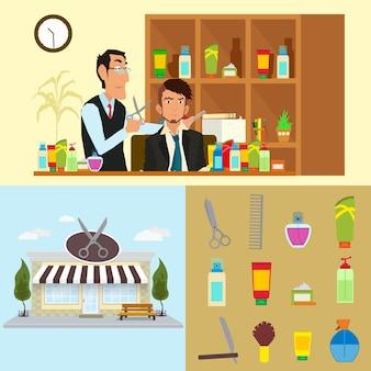 理容師は顧客にサービスを提供します。外装理髪店。アイコン化粧品、はさみ、櫛、かみそり。