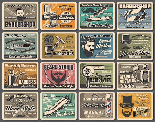 Barber shop, beard and mustaches stamps