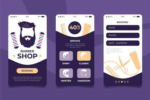 Barber shop booking app concept