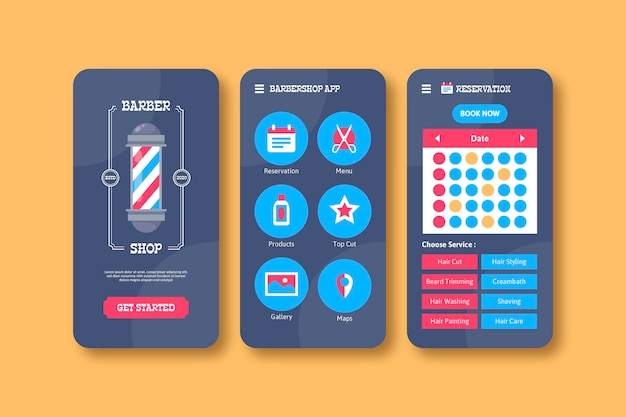 Barber shop booking app design