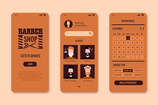 Barber shop booking app interface template