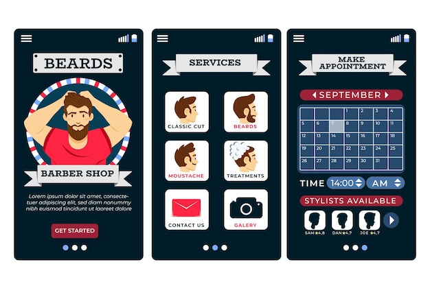 Barber shop booking app interface