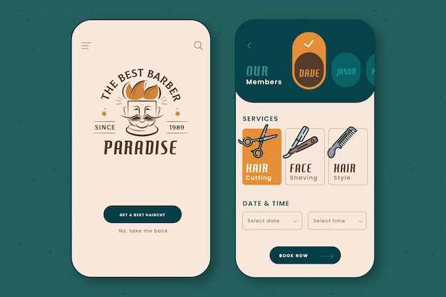 Barber shop booking app interface