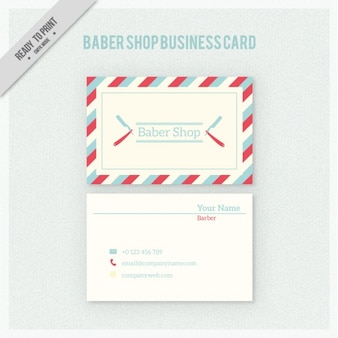 Barber shop business card in retro style