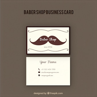 Barber shop card with a moustache