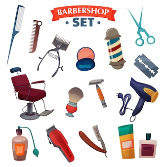 Barber shop cartoon set