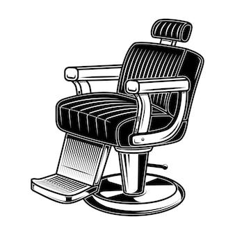 Иллюстрация стула парикмахерской в стиле гравюры.