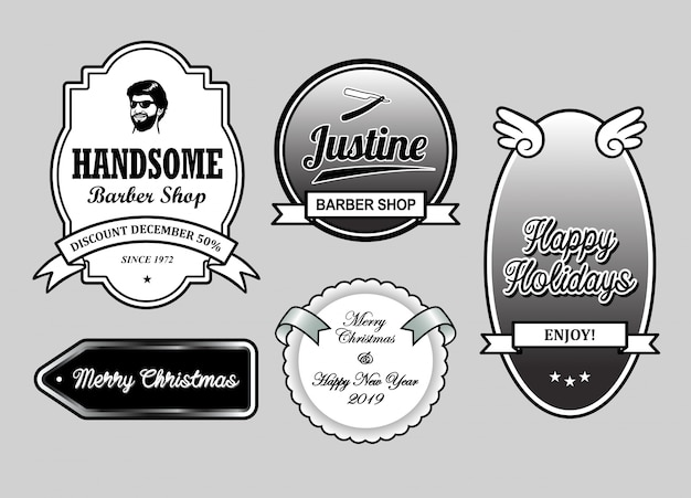 Barber shop christmas and new year label badges