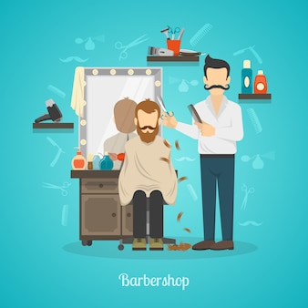 Barber shop color illustration