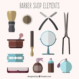 Barber shop elements in flat design
