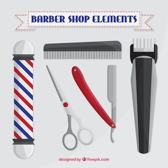 Barber shop elements in realistic style