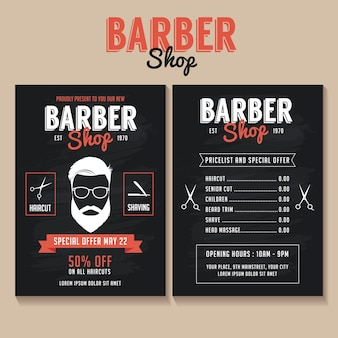 Barber shop flyer template with a price list and a special offer