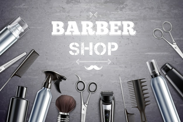 Barber shop hair styling tools supplies set realistic monochrome top view with shaving brush vector illustration