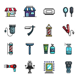 Barber shop haircut elements full color  icon set