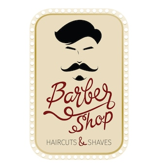 Barber shop, haircuts and shaves banner with lettering