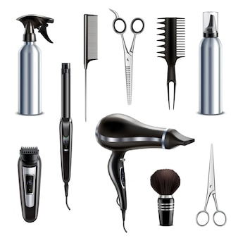 Barber shop hairdresser styling tools realistic collection with hairdryer scissors trimmer clipper shaving brush isolated vector illustration