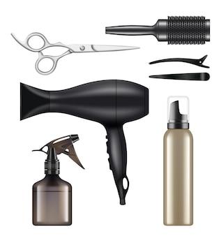 Парикмахерская. парикмахерские инструменты для парикмахера-парикмахера, фена для волос, ножницы, машина для бритья, реалистичные изображения.