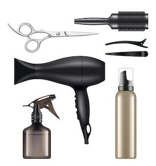 Barber shop. hairdressing tools for hair stylist worker beauty dryer scissors machine for shaving  realistic pictures.