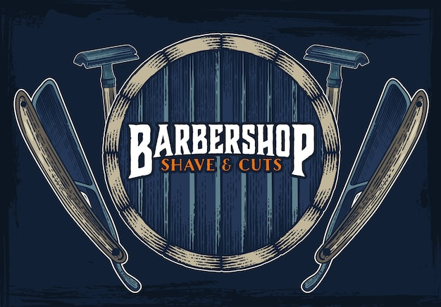Barber shop hipster vintage sign template
