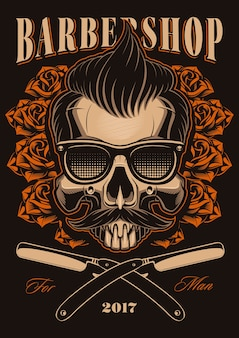 Barber shop illustration, skull with roses and straight razors. hipster skull with hair and mustache.