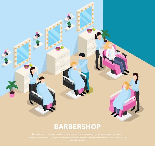 Barber shop isometric composition