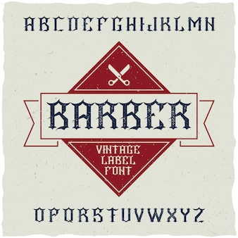 Barber shop label font and sample label design with decoration and ribbon.