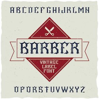 Carattere dell'etichetta del negozio di barbiere e design dell'etichetta di esempio con decorazioni e nastro.