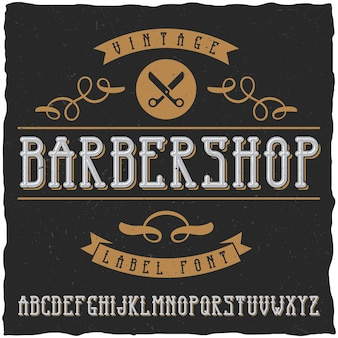 Barber shop label font and sample