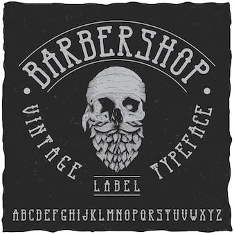 Barber shop label font and sample