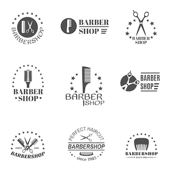 Barber shop label set