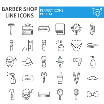 Barber shop line icon set, hairstyle collection