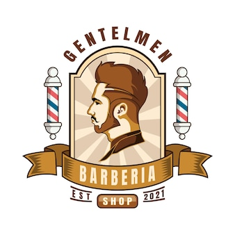 Barber shop logo cartoon