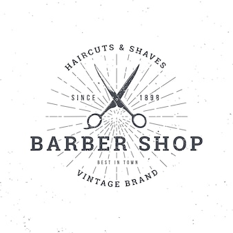 Barber shop logo with scissors, vintage badge