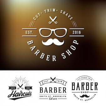 Barber shop logos set