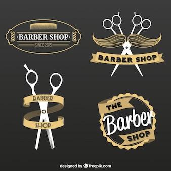 Barber shop logos set