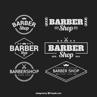 Barber shop logos with vintage typography