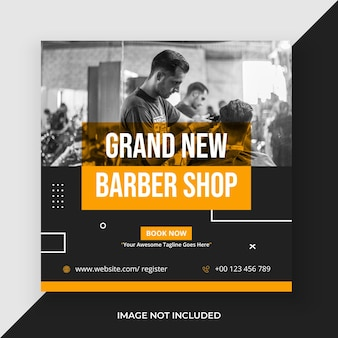 Barber shop and mens saloon social media post template