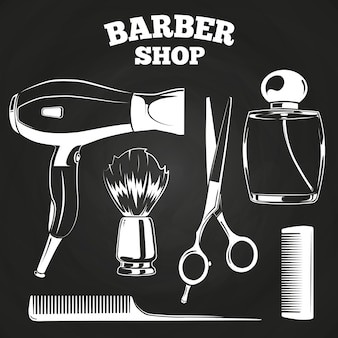 Barber shop objects for labels