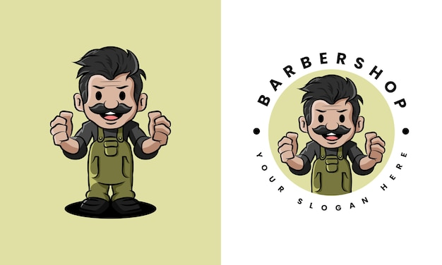 Barber shop old man logo