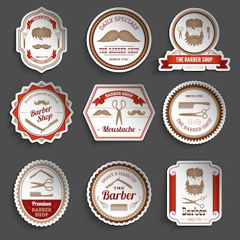 Barber shop paper stickers haircut and hairdresser accessories set isolated vector illustration