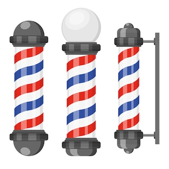 Barber shop poles with stripes in flat style
